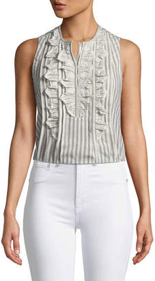 Rebecca Taylor Striped Sleeveless Top with Ruffle Eyelet Bib