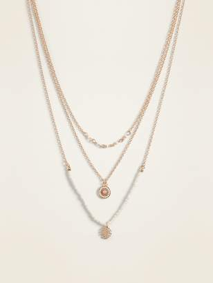 Old Navy Layered-Chain Charm Necklace for Women