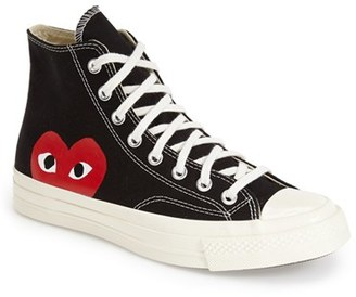 Men's Comme Des Garcons Play X Converse Chuck Taylor - 'Hidden Heart' High Top Sneaker $125 thestylecure.com