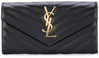 Saint Laurent grain de poudre monogram flap wallet