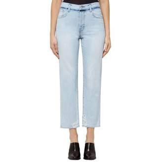 Light Blue Distressed Denim Wynne Cropped Stretch Straight Jeans