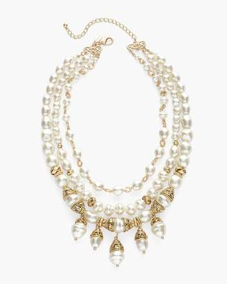 Chico's Chicos Gold-Tone and Faux-Pearl Multi-Strand Necklace