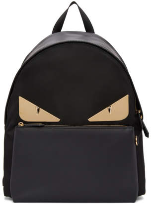 Fendi Black and Gold Bag Bugs Backpack
