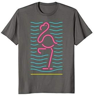 80s Retro Neon Sign Pink Flamingo Bird T-Shirt. 80's Gift