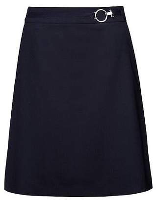 HUGO BOSS A-line skirt in stretch virgin wool with silver-effect buckle
