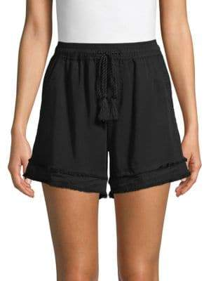 Saks Fifth Avenue BLACK Smocked Raw-Edge Shorts