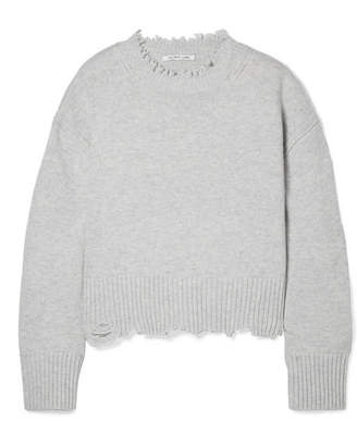 Helmut Lang Distressed Wool And Cashmere-blend Sweater - Light gray