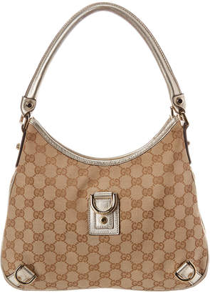Gucci Beige Gg Canvas & Gold Leather Abbey D-Ring Hobo Bag