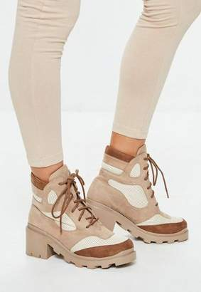 Missguided Tan Contrast Panel Lace Up Boots
