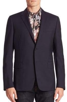 Valentino Contrast Pipe Wool-Blend Blazer