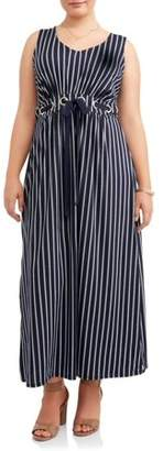 Paperdoll Paper Doll Women's Plus Size Sleeveless Knit Striped Maxi Dress with Grommet Detail