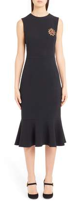 Dolce & Gabbana Sacred Heart Embellished Flare Hem Sheath Dress