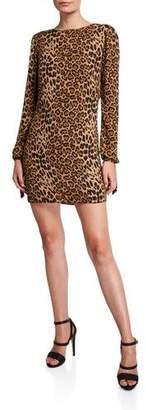 Dress the Population Dahlia Leopard Cowl-Back Long-Sleeve Short Dress