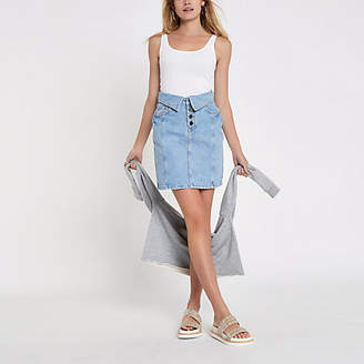 River Island Womens Blue denim high rise turn down mini skirt