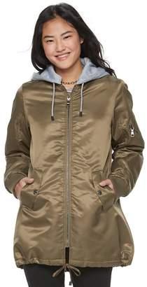 Madden Nyc madden NYC Juniors' Detachable Hood Long Bomber Jacket