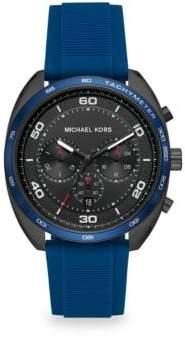 Michael Kors Dane Black IP& Blue Silicone Chronograph Watch