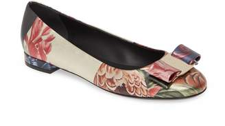Salvatore Ferragamo Varina Floral & Feather Print Ballet Flat