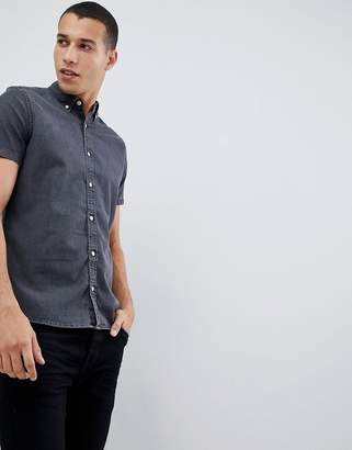 Next slim fit denim shirt in grey