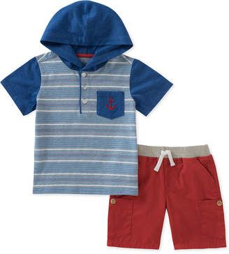 Kids Headquarters 2-Pc. Striped Hoodie & Cargo Shorts Set, Baby Boys