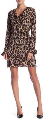 Romeo & Juliet Couture Leopard Print Ruffle Wrap Dress