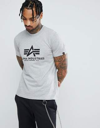 Alpha Industries Logo T-Shirt in Gray Marl