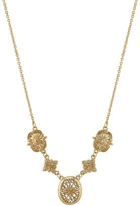 1928 Floral Filigree Link Necklace