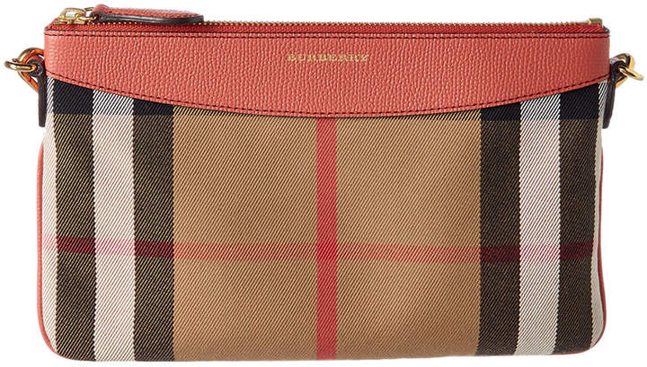 Burberry Peyton House Check & Leather Clutch Bag
