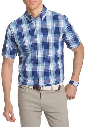Izod Short Sleeve Plaid Button-Front Shirt