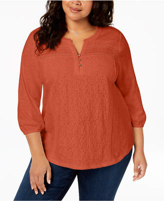 Style&Co. Style & Co Plus Size Cotton Lace-Trimmed Top, Created for Macy's
