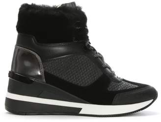 Michael Kors Scout Black Mixed Media High Top Trainers