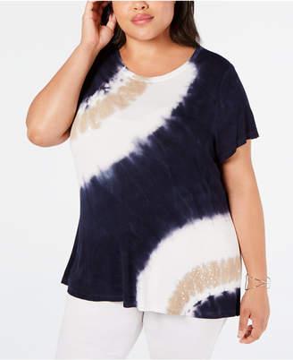 INC International Concepts I.n.c. Plus Size Sequin-Trim Tie-Dye T-Shirt