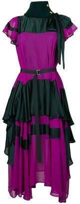 Sacai flared frilled dress