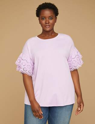 Lane Bryant Eyelet-Sleeve Sweatshirt Top