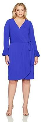 London Times Women's Plus Size Bell Sleeve V Neck Jersey Wrap Dress