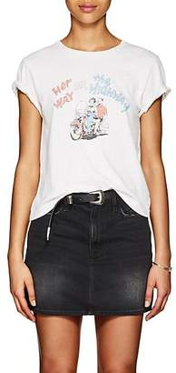 """RE/DONE Women's """"Her Way Or The Highway"""" Cotton T-Shirt - White"""
