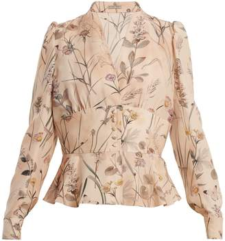 Bottega Veneta Floral-print peplum-hem silk blouse