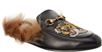 Gucci Princetown Tiger Appliqueleather Slipper