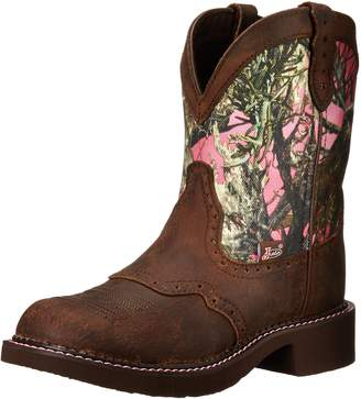 """Justin Boots Women's Gypsy Collection 8"""" Boot Fashion Round Toe Brown Rubber Outsole,Aged Bark with Perfed Saddle Vamp/Pink True Timber Camo with Diamond Cut Pull Strap"""