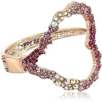 Betsey Johnson Women's Tonal Stone Heart Cuff Bracelets