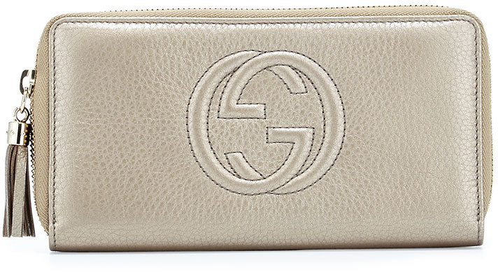 Gucci Soho Metallic Leather Zip Around Wallet, Champagne