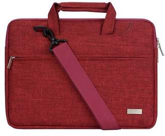 Mosiso Laptop Shoulder Bag for 13-13.3 Inch MacBook Pro, MacBook Air, Notebook Polyester Briefcase Sleeve Case Cover Handbag with Back Belt for Trolly Case,Wine Red