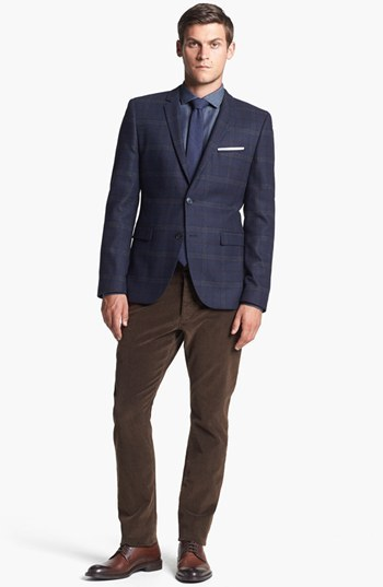HUGO 'Adris' Extra Trim Fit Plaid Sportcoat