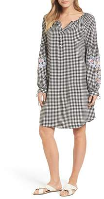 Caslon Embroidered Sleeve Shift Dress (Petite)