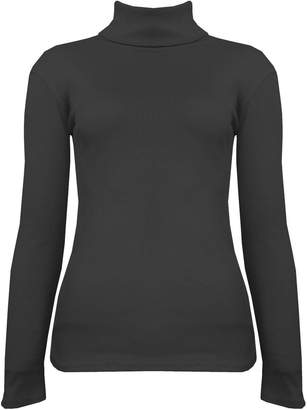 524874d5d2427 JanisRamone New Womens Plain Ribbed Knitted Polo Turtle Neck Stretch Long  Sleeve Jumper Top