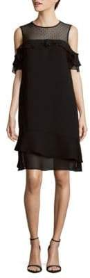 Sheer Ruffled Cold-Shoulder Shift Dress