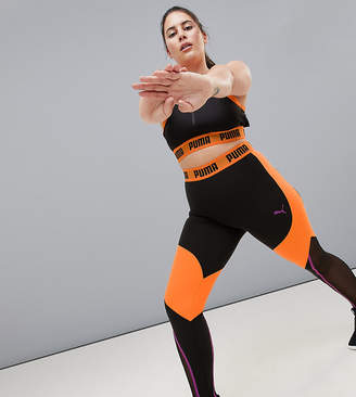 Puma Plus Exclusive To ASOS Panelled Legging In Black And Orange