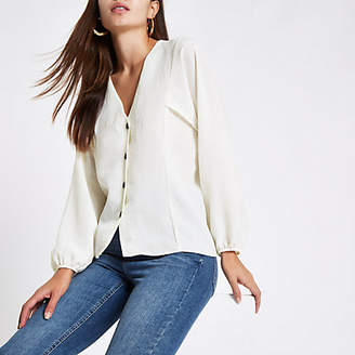 River Island Cream button up v neck blouse