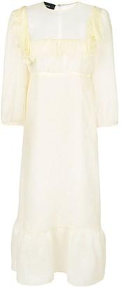 Rochas sheer detail ruffle dress