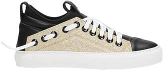 Bruno Bordese Triangular Sneakers In Black And Glitter Gold Leather