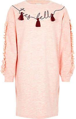 River Island Girls Pink ruffle sleeve sweater dress